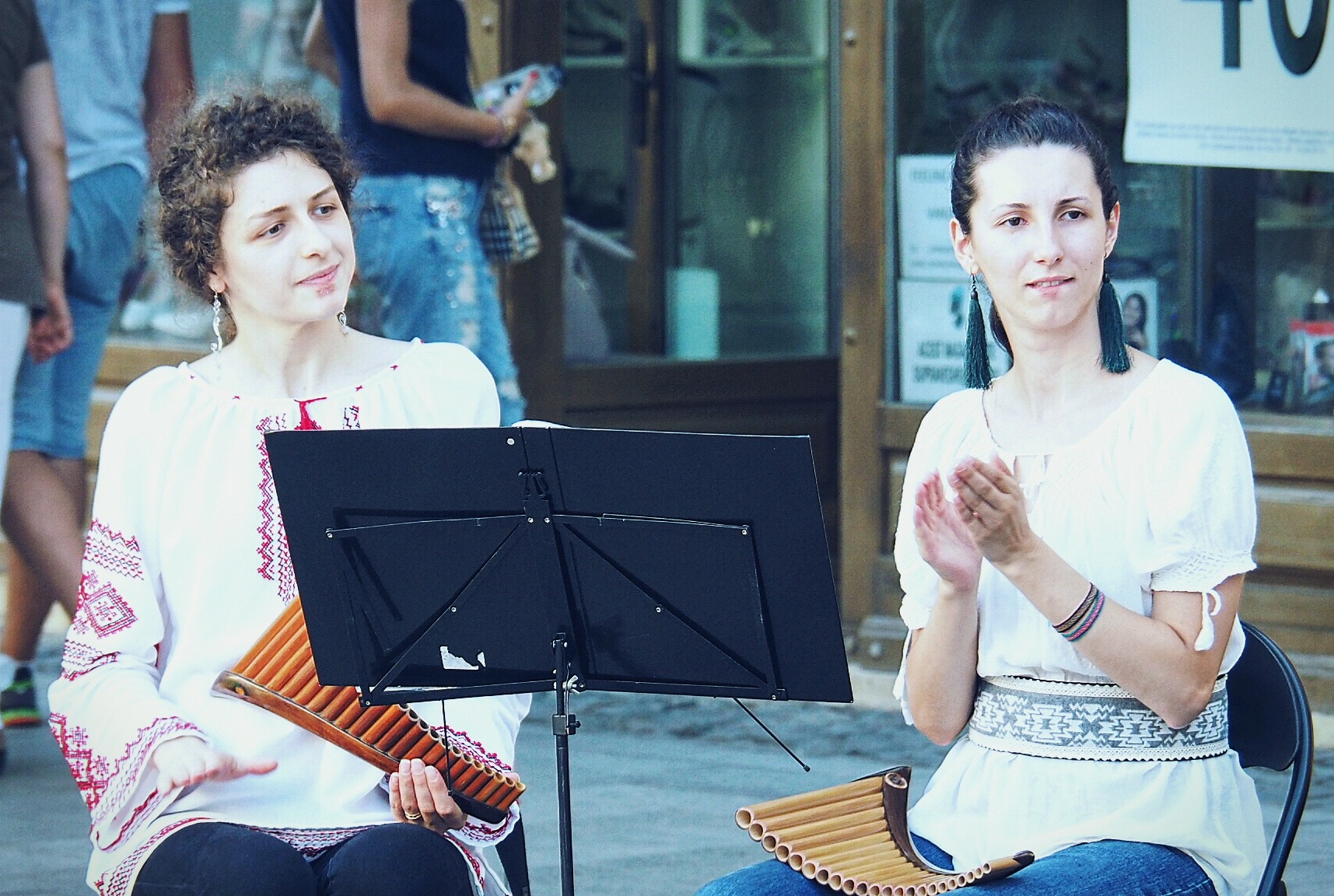 Flötenspielerinnen in Sibius Fußgängrzone