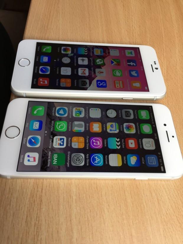 Fast nicht zu unterscheiden. Das iPhone ist vorne.