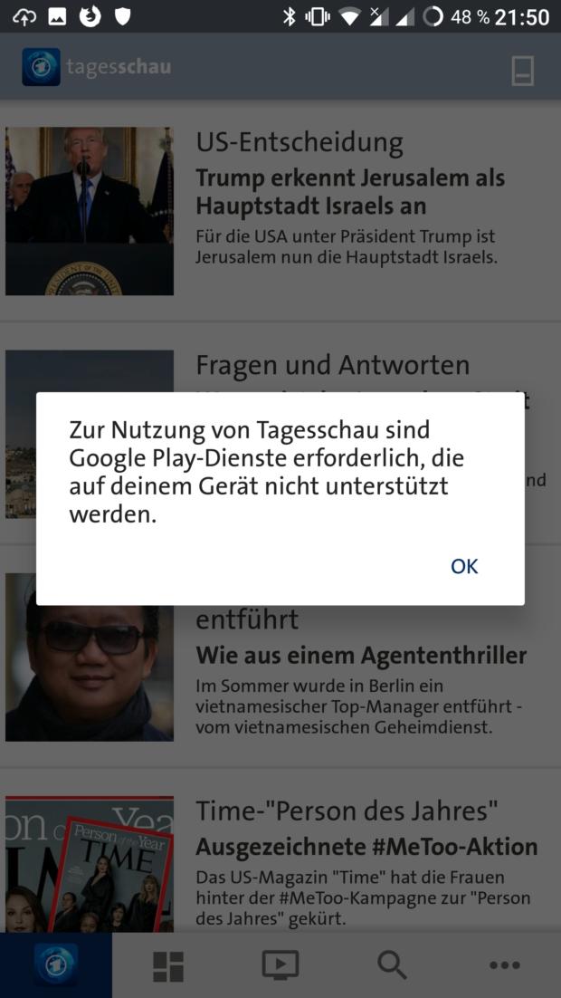 Fehlermeldung Tagesschau-App