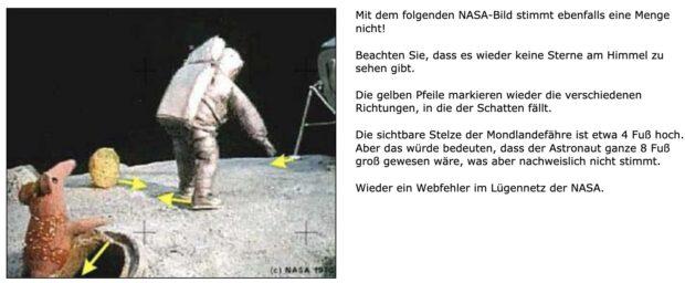 Screenshot meiner satirischen Seite zur Mondlandung von 2004