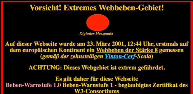 Webbeben - Screenshot 2001